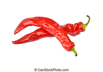 Red cayenne chili pepper, isolated on white background