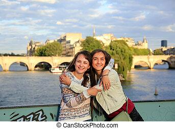 美しい, パリ, 女の子, 学生, 幸せ