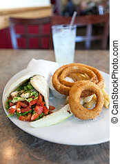 Chicken Pita Wrap and Onion Rings