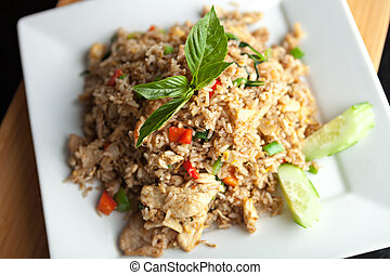 Thai Fried Rice with Chicken - A Thai dish of chicken fried...