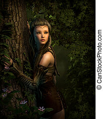 Behind the Tree, 3d CG - 3d computer graphics of a girl,...