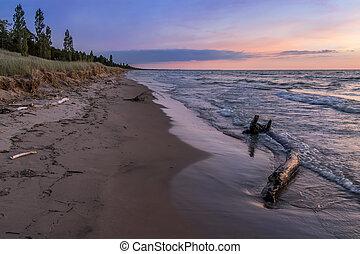 spiaggia,  huron, crepuscolo, lago