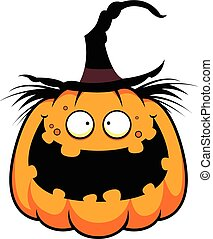Cartoon Pumpkin Witch Happy