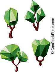 Abstract polygonal green trees icons