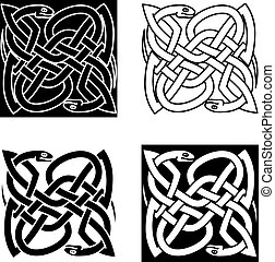 Celtic snakes arranged in traditional knot pattern - Celtic...