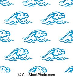 Seamless pattern of blue sea waves - Seamless pattern of sea...