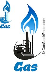 Industrial factory with blue flame on pipes - Natural gas...