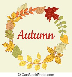 Autumn fallen colorful leaves frame - Fallen leaves frame...