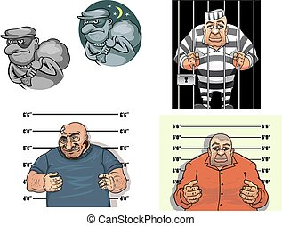 Cartoon thief, robber, gangster and prisoner - Criminal...