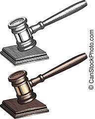 Gavel - Hand Drawn - Illustration of a gavel used by court...