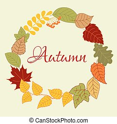 Frame with autumn leaves and rowan fruits - Wreath frame of...