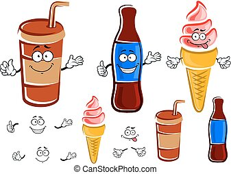 Cartoon soda bottle, cup and ice cream