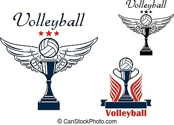 Volleyball icon with trophy and winged ball