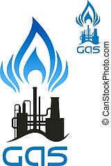 Oil and natural gas industrial factory icon with long pipes...