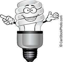 Cartoon saving light bulb character - Happy compact...