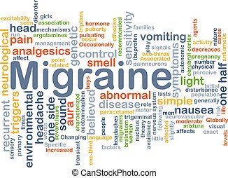 Migraine background concept - Background concept wordcloud...