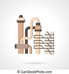 Vegetable oil factory flat vector icon - Flat color style...