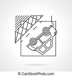 Car evacuation signVector icon - Flat line style vector icon...