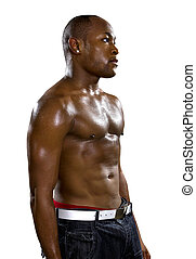 Shirtless Urban Muscle Man - Muscular black male in hip hop...