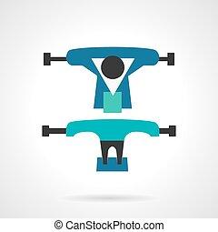 Longboard suspension flat vector icon - Flat color vector...