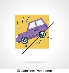 Car insurance occasion flat vector icon - Flat color vector...