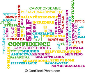 Self-confidence multilanguage wordcloud background concept -...
