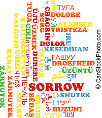 Sorrow multilanguage wordcloud background concept -...
