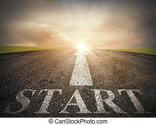 Start of the way - Asphalt with a start and an arrow