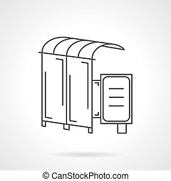 Vector icon for bus station - Flat thin line vector icon for...