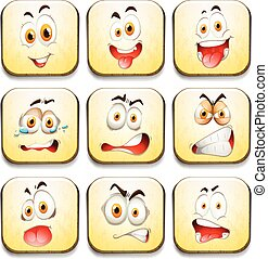 Facial expressions on yellow tiles illustration