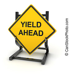 Road sign - yield ahead , This is a computer generated and...