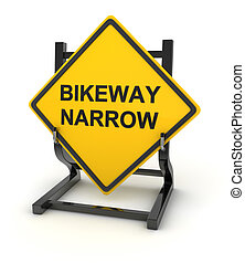 Road sign - bikeway narrow , This is a computer generated...