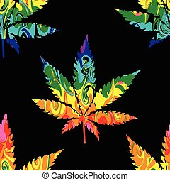 Abstract Cannabis Seamless Pattern Background Vector on...