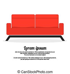 Red Two Seat Sofa.