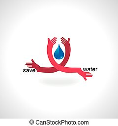 save water concept holding vector illustration