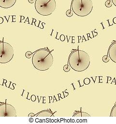 Vintage Bicycle Paris seamless - Penny Farthing Vintage...