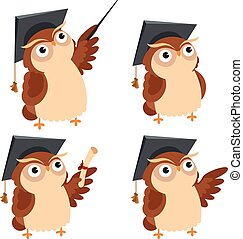 Owl lecture - Vector image of a cartoon icons of Owl