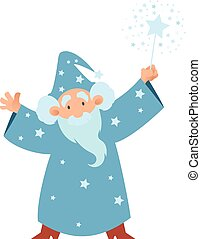 Wizard - Vector image of a cartoon Wizard with his wand