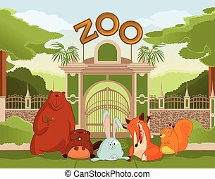 Zoo gate with animals 1 - Vector image of zoo gate with...