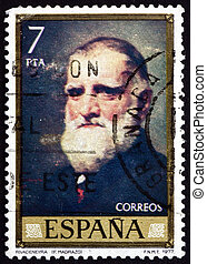 opłata pocztowa, tłoczyć, rivadeneyra, 1977, madra, portret,...