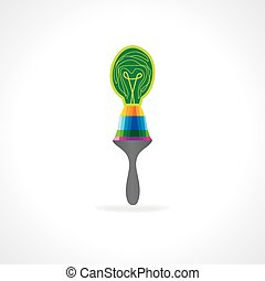 painting brush connecting bulb vector illustration