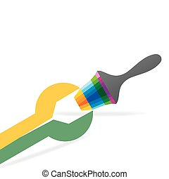 spanner connecting painting brush vector illustration