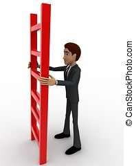 3d man holding red ladder to climb concept on white...