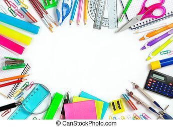 espalda, a, escuela, -, escuela, stationery, ,