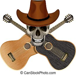 Skull wearing a cowboy hat on a background of overlapping...
