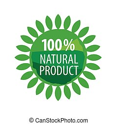 Round vector logo for organic food