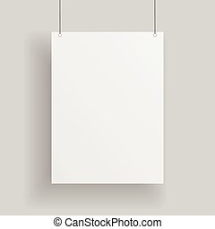 Blank white paper Page hanging against grey Background....
