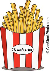French Fries in red and white striped paper Box
