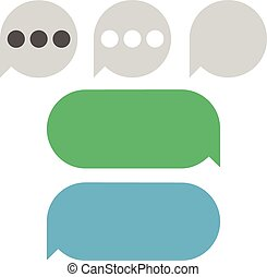 Text Messages vector Bubbles - Flat green, blue and grey...