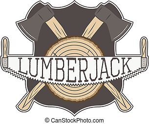 Vecror Lumberjack Label - Vintage Lumberjack Label with Axe...